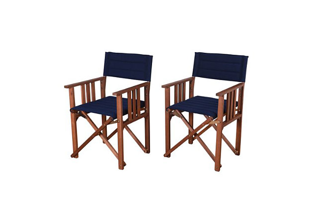 Eucalyptus Wood Blue Director Chair (Set of 2), , large