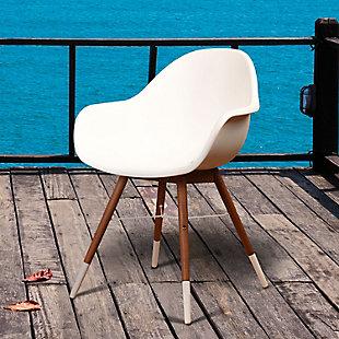 Bucket Arm Chair with Dark Legs (Set of 4), White/Brown, rollover