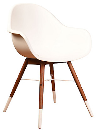 Bucket Arm Chair with Dark Legs (Set of 4), White/Brown, large