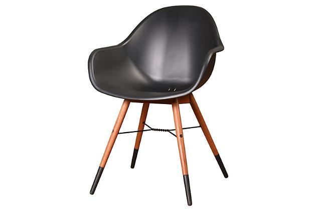 Bucket Arm Chair with Dark Legs (Set of 4), Black/Brown, large