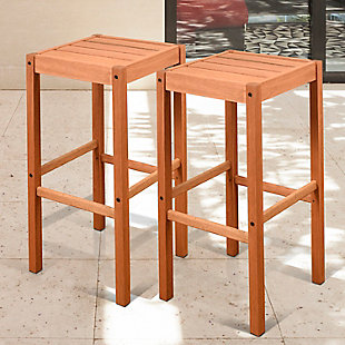 Eucalyptus Wood Barstool (Set of 2), , rollover