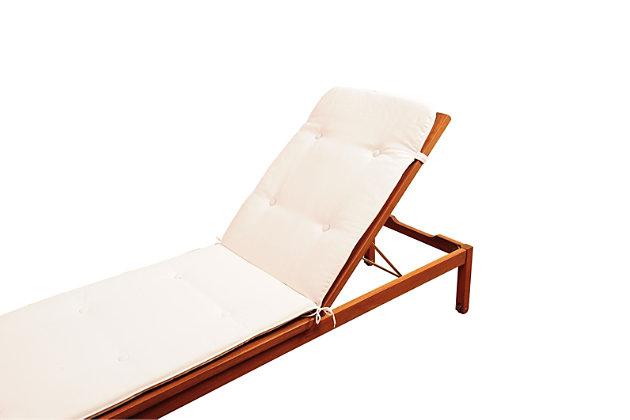 Eucalyptus Wood Lounger with White Cushion, , large