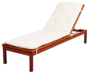 Eucalyptus Wood Lounger with White Cushion, , large