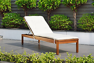 Eucalyptus Wood Lounger with White Cushion, , rollover
