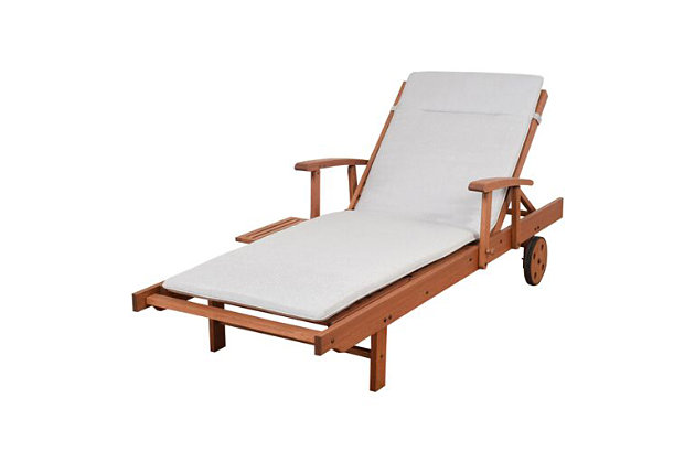 Eucalyptus Wood Lounger with Light Grey Cushion, , large