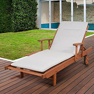 Eucalyptus Wood Lounger with Light Grey Cushion, , rollover