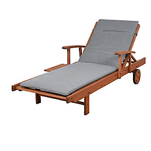Eucalyptus Wood Lounger with Grey Cushion, , large