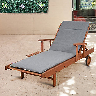 Eucalyptus Wood Lounger with Grey Cushion, , rollover