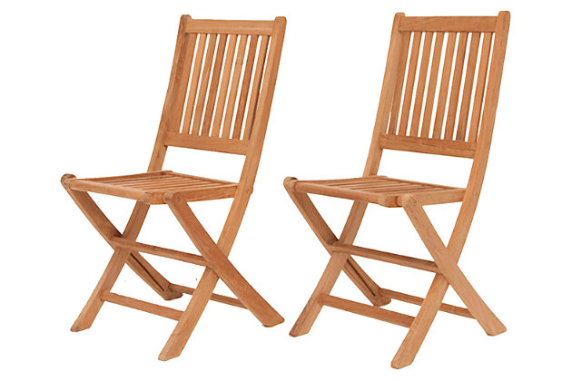 Teak Folding Chairs with Vertical Slats (Set of 2), , large