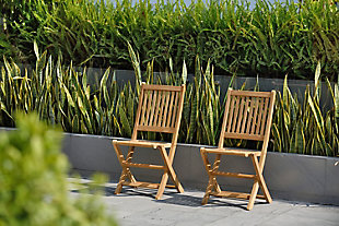 Teak Folding Chairs with Vertical Slats (Set of 2), , rollover