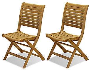 Teak Folding Chairs with Horizontal Slats (Set of 2), , large