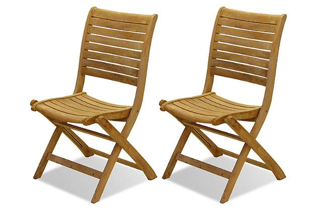 Teak Folding Chairs with Horizontal Slats (Set of 2), , large