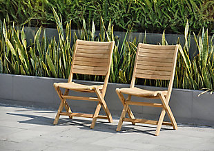 Teak Folding Chairs with Horizontal Slats (Set of 2), , rollover