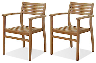 Teak Armchair with Horizontal Slats (Set of 2), , large