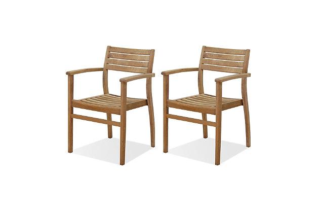 Teak Armchair with Horizontal Slats (Set of 2), , large