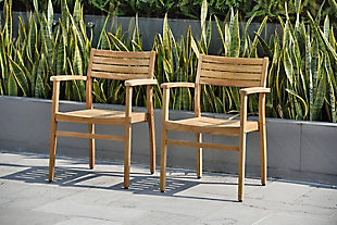 Teak Armchair with Horizontal Slats (Set of 2), , rollover