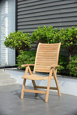 Teak Folding Armchair with Horizontal Slats (Set of 2), , rollover