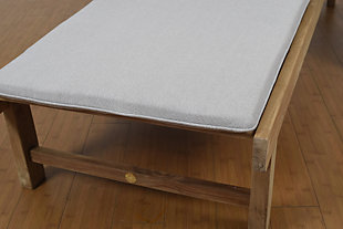 Teak Lounger with Light Grey Cushion, , large