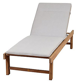 Teak Lounger with Light Grey Cushion, , large