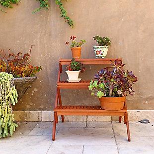 Vifah Malibu Outdoor Wood Garden Plant Stand, , large
