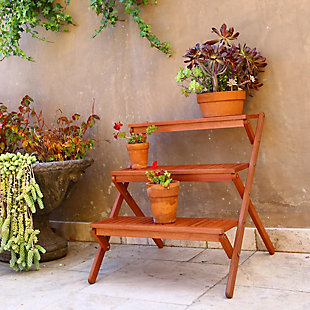 Vifah Malibu Outdoor Wood Garden Plant Stand, , rollover