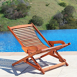 Vifah Malibu Outdoor Wood Folding Lounge, , rollover