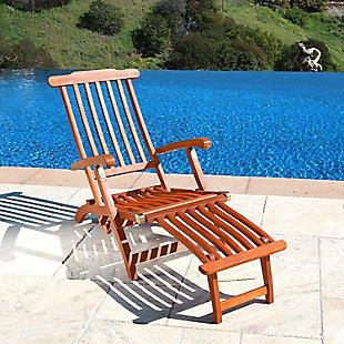 Vifah Malibu Outdoor Wood Folding Steamer Lounge, , rollover