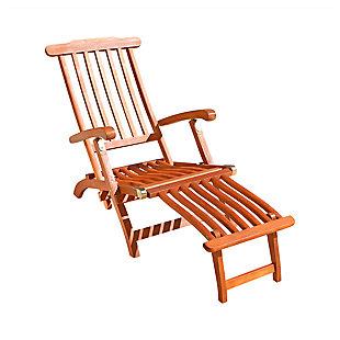 Vifah Malibu Outdoor Wood Folding Steamer Lounge, , large