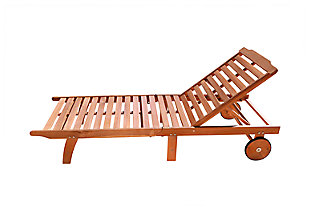 Vifah Bradley Outdoor Wood Folding Chaise Lounge, , large