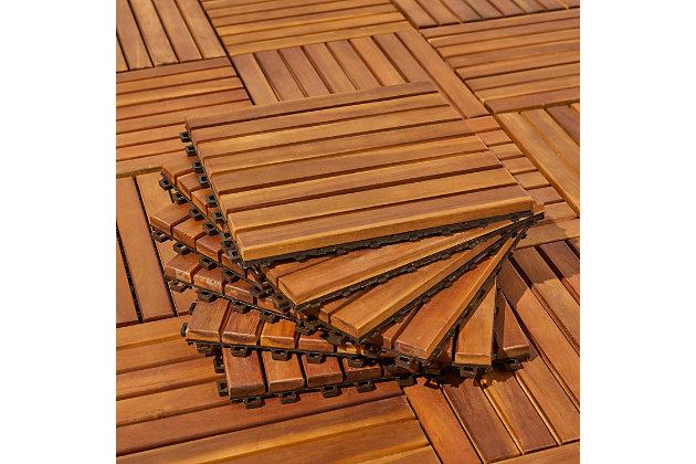 Vifah Malibu 8-Slat Acacia Interlocking Deck Tile (Set of 10), , large