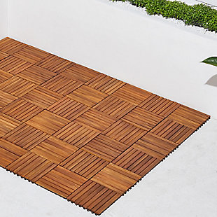 Vifah Malibu 8-Slat Acacia Interlocking Deck Tile (Set of 10), , rollover