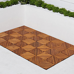 Vifah Malibu 12-Diagonal Slat Interlocking Deck Tile (Set of 10), , rollover