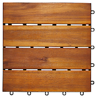 Vifah Malibu 4-Slat Acacia Interlocking Deck Tile (Set of 10), , large