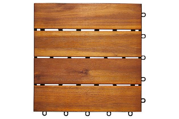 Vifah Malibu 4-Slat Acacia Interlocking Deck Tile (Set of 10), , large