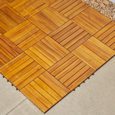 Vifah Malibu 6-Slat Acacia Interlocking Deck Tile (Set of 10), , large