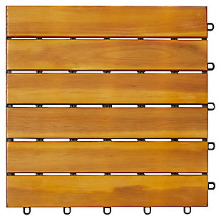 Vifah Malibu 6-Slat Acacia Interlocking Deck Tile (Set of 10), , large