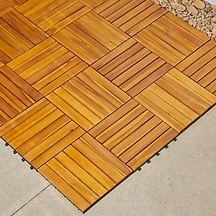 Vifah Malibu 6-Slat Acacia Interlocking Deck Tile (Set of 10), , rollover