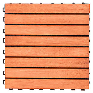 Vifah Malibu 8-Slat Eucalyptus Interlocking Deck Tile (Set of 10), , large