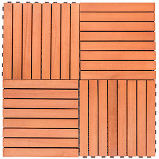 Vifah Malibu 8-Slat Eucalyptus Interlocking Deck Tile (Set of 10), , rollover