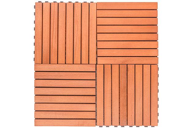 Vifah Malibu 8-Slat Eucalyptus Interlocking Deck Tile (Set of 10), , large