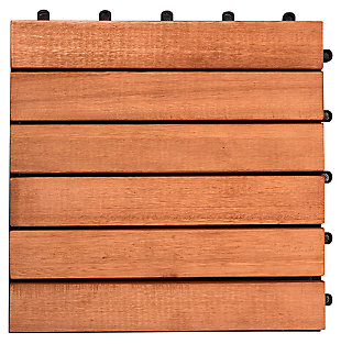 Vifah Malibu 6-Slat Eucalyptus Interlocking Deck Tile (Set of 10), , large