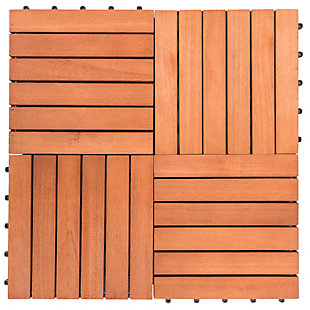 Vifah Malibu 6-Slat Eucalyptus Interlocking Deck Tile (Set of 10), , rollover