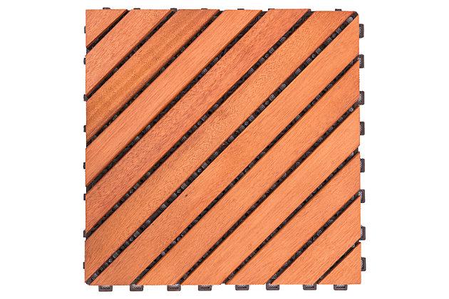 Vifah Malibu 12-Diagonal Slat Interlocking Deck Tile (Set of 10), , large
