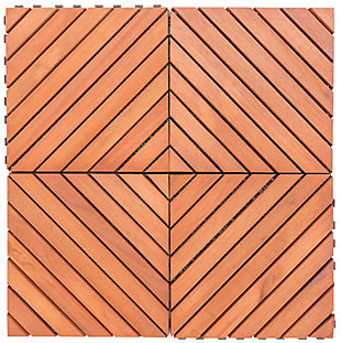 Vifah Malibu 12-Diagonal Slat Interlocking Deck Tile (Set of 10), , rollover