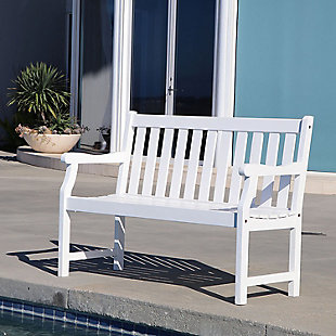 Vifah Bradley Outdoor 4ft Wood Garden Bench, , rollover