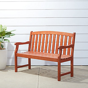 Vifah Malibu Outdoor 4ft Wood Garden Bench, , rollover