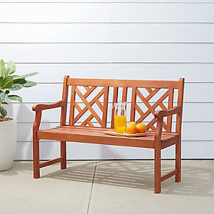 Vifah Malibu Outdoor 4ft Wood Garden Bench, , rollover