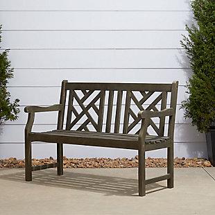 Vifah Renaissance Outdoor 4ft Hand-scraped Wood Garden Bench, , rollover