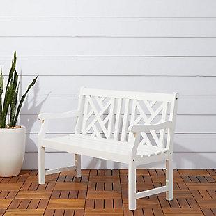 Vifah Bradley Outdoor 4ft Wood Garden Bench, , rollover