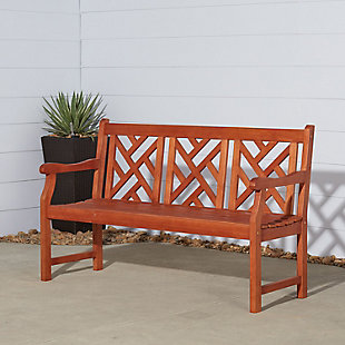 Vifah Malibu Outdoor 5ft Wood Garden Bench, , rollover